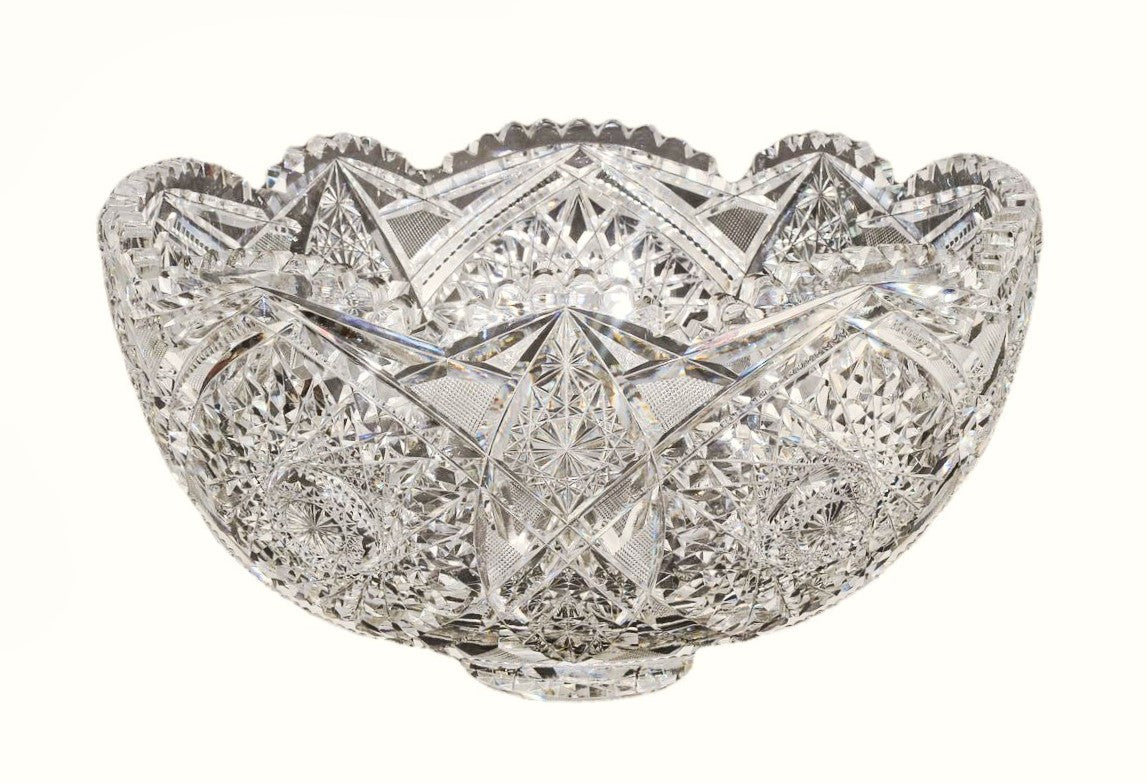 Brilliant Cut Crystal Punch Bowl  American, Late 19th Century