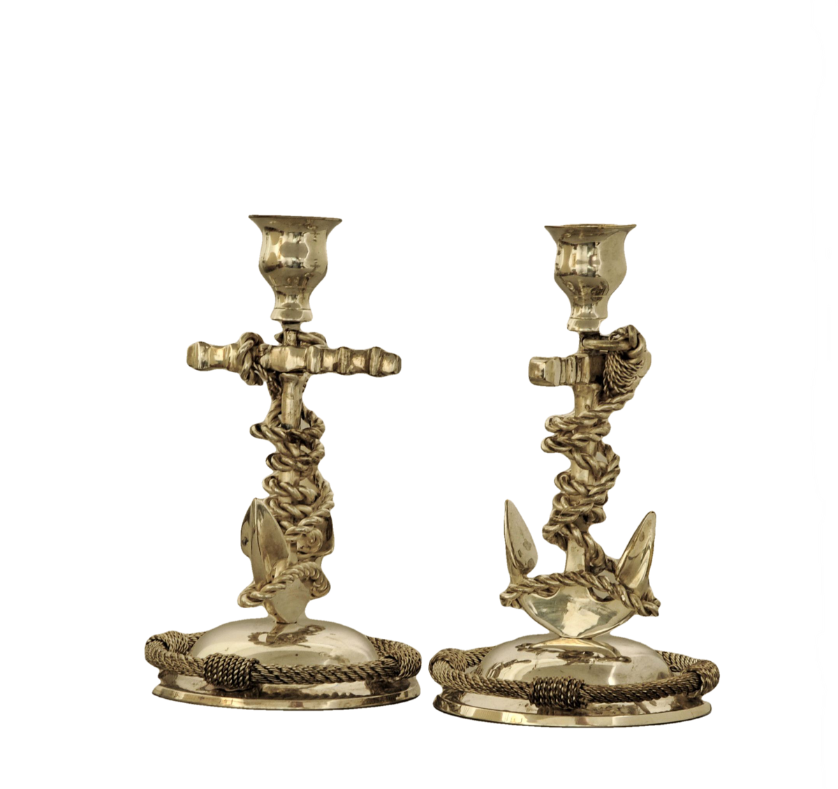 Pair of Nautical Themed Silverplate Candlesticks