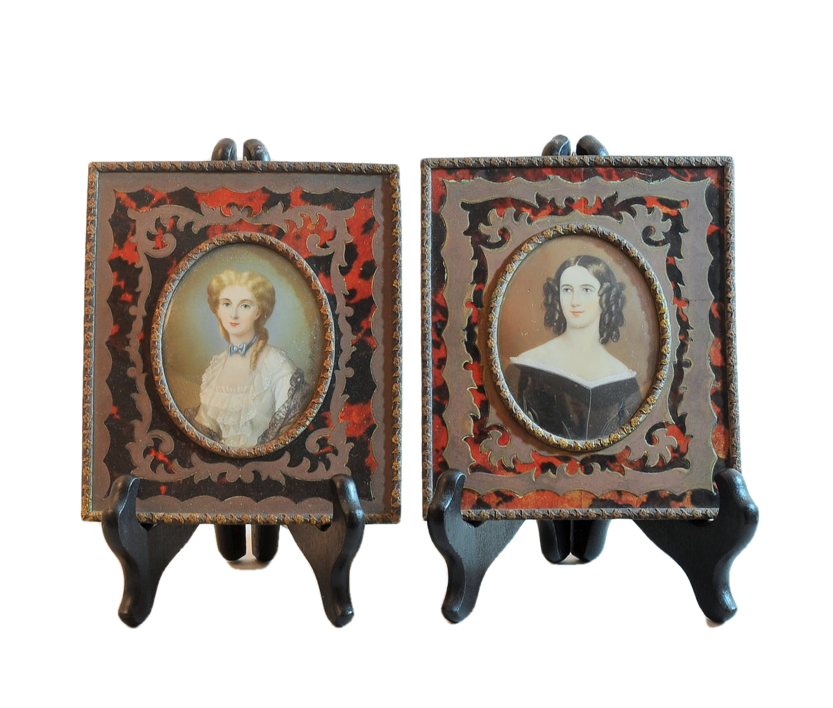 Two Fine Portrait Miniatures. French, 19th C.