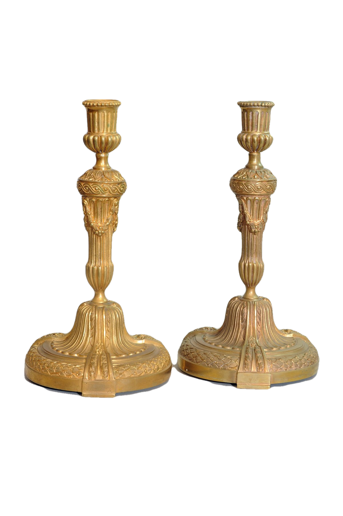 Pair of Louis XVI Style Gilt Bronze Candlesticks. Portugal, 20th Century