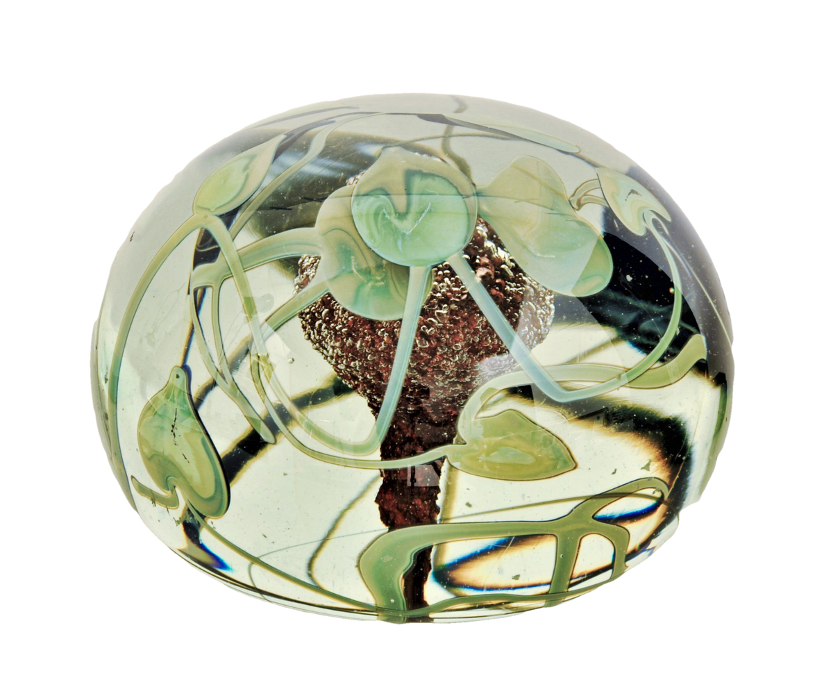 Fine Large Glass Floral Paperweight. 1973