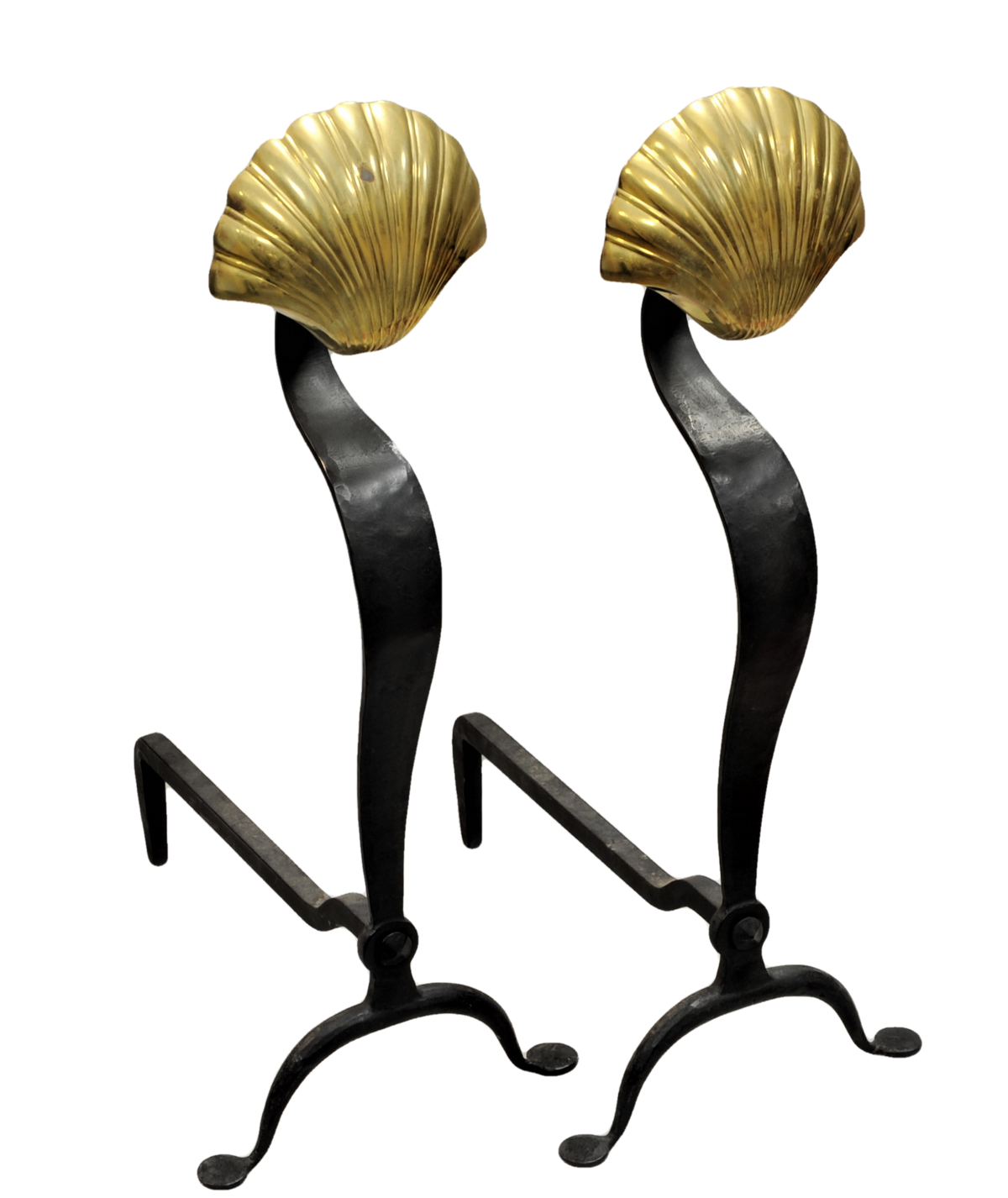 Pair of Bronze and Wrought Iron Andirons Shell Finial Decoration