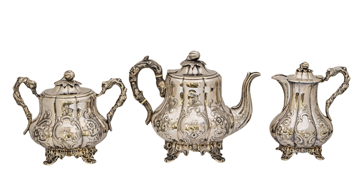 Important Rococo Revival Style Charters, Cann & Dunn Coin Silver Tea Set,  American 1848-1851