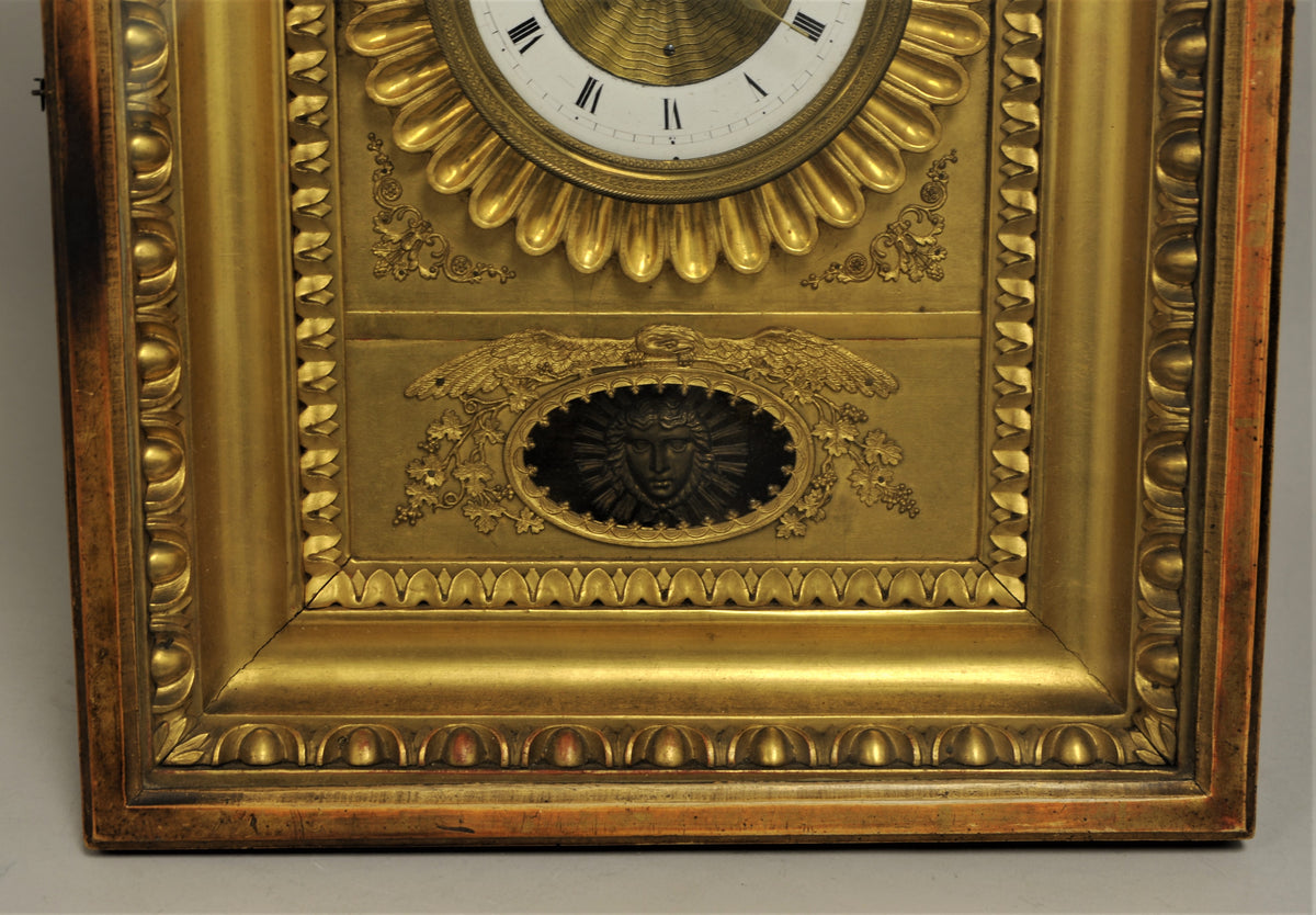 Early American Gilt Wood and Bronze Clock Face.