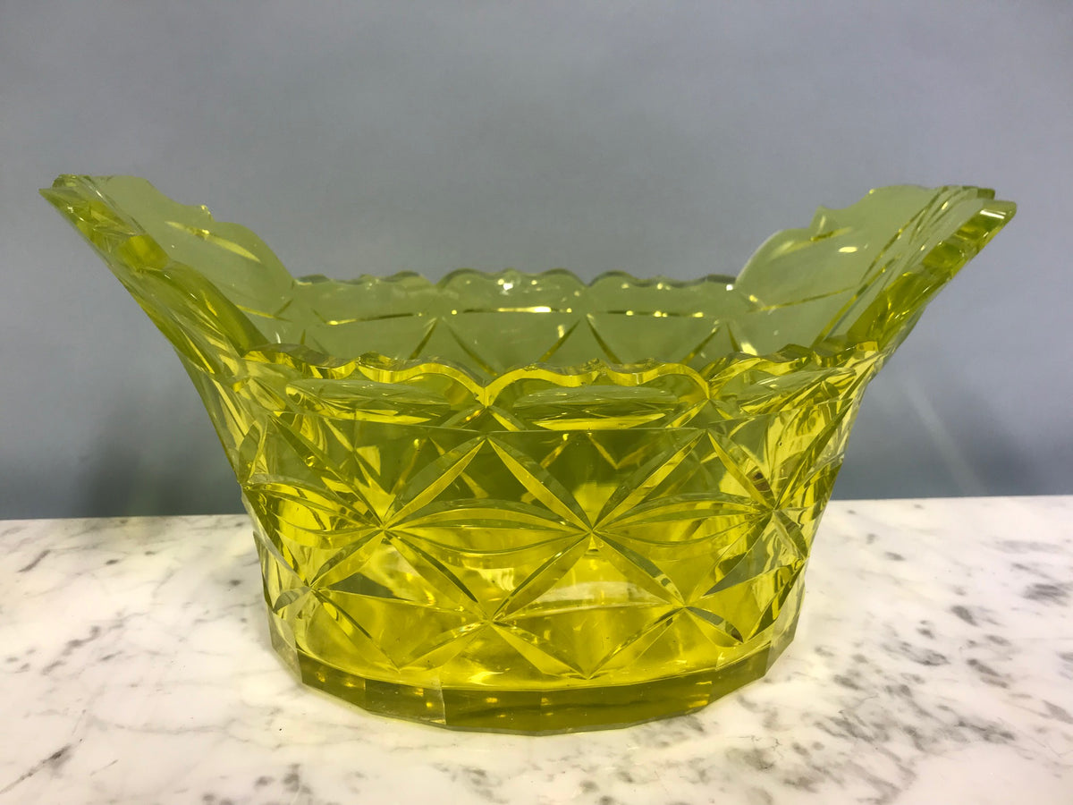 Pair Vaseline Glass Oval Bowls