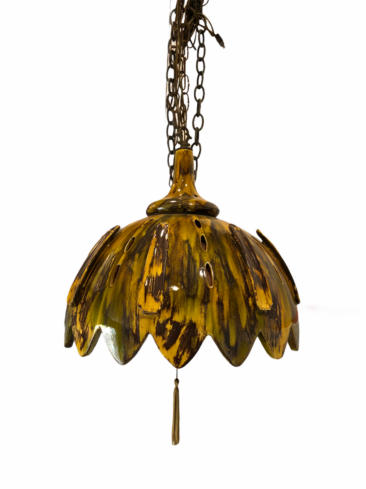 Mid Century Glazed Ceramic Pendant Light