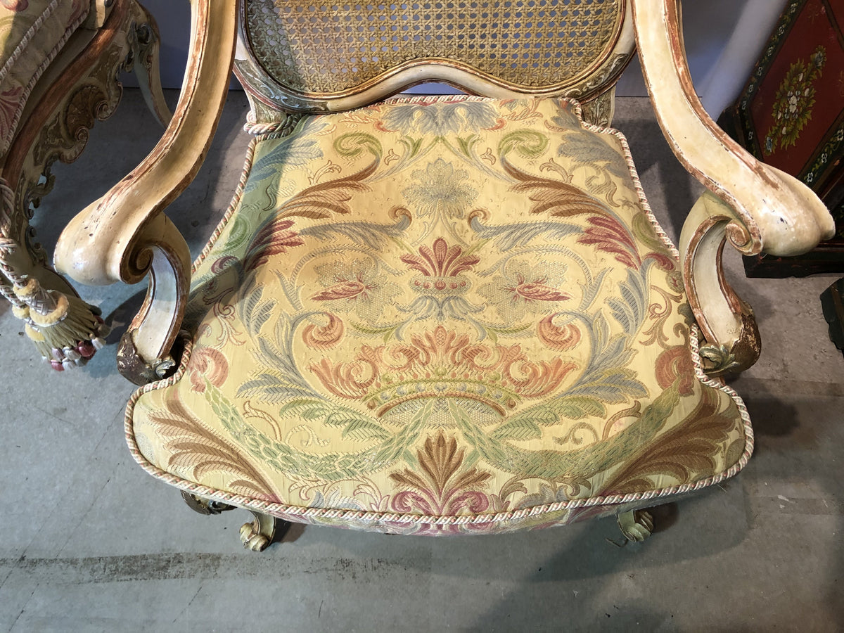 Pair of Painted Carved Arm Chairs