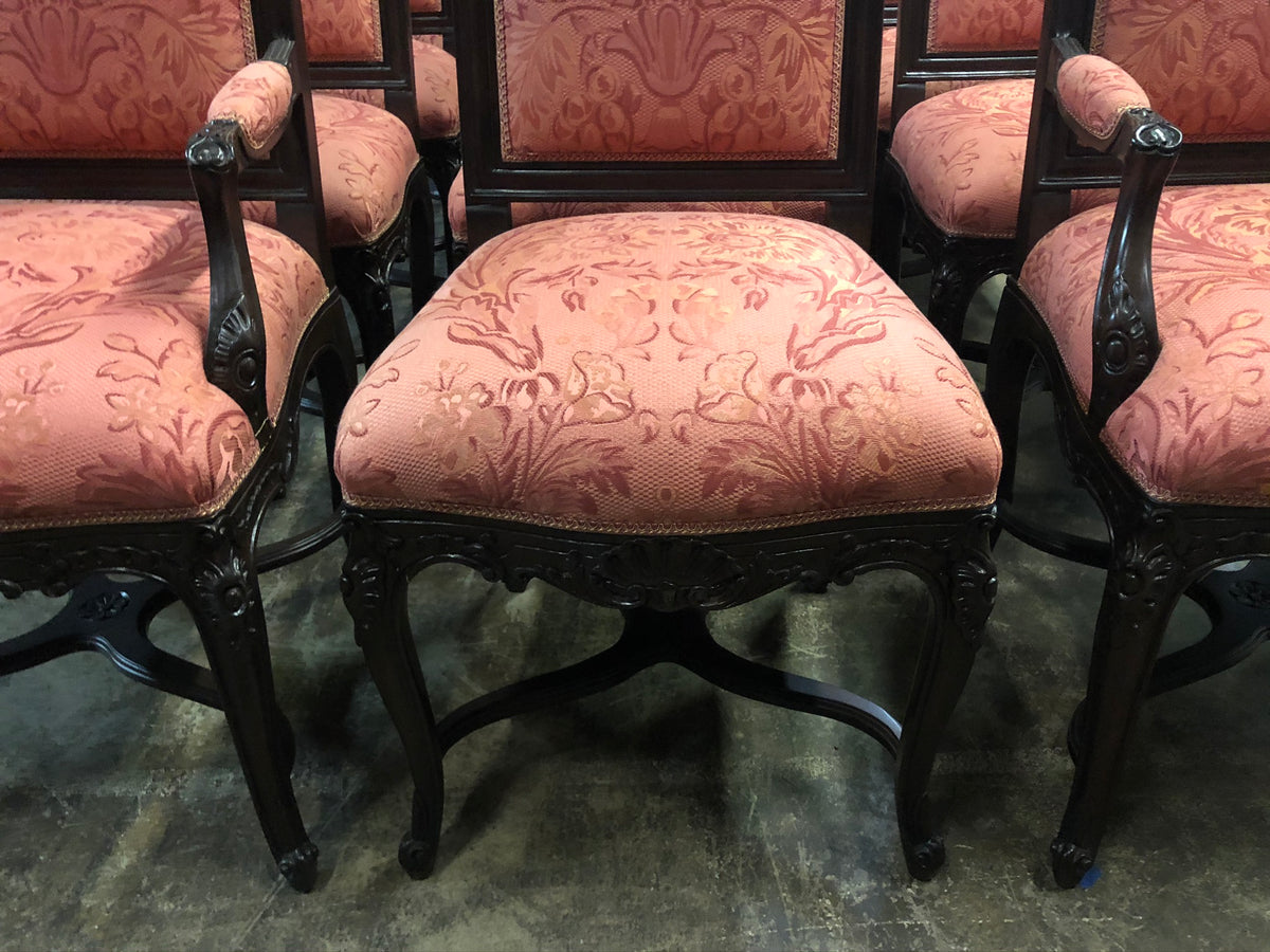 Set of 12 Lewis Mittman Carved Dining Chairs