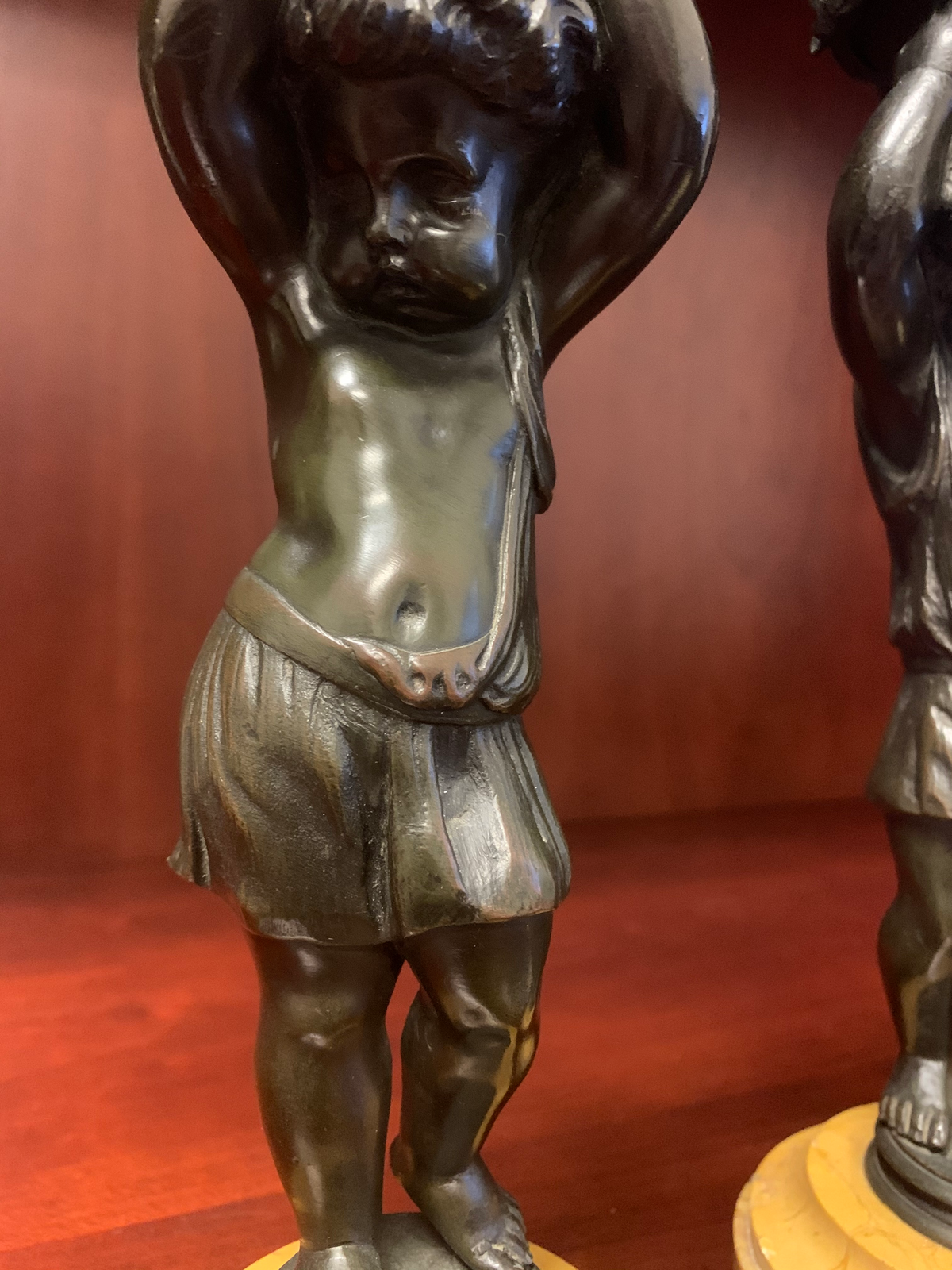 Pair of Bronze Putti Figurines on Marble Bases