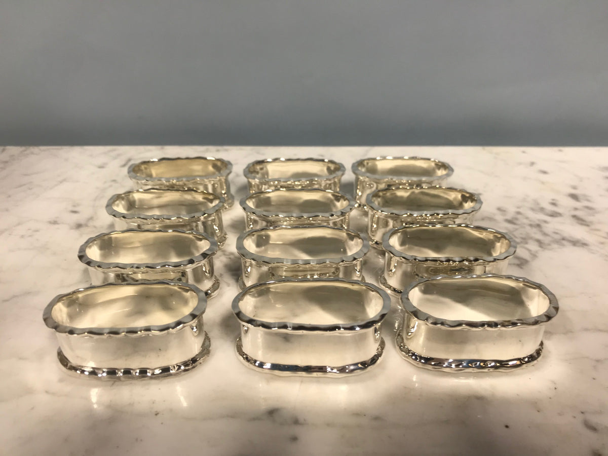 Set of Twelve Silver Plate Napkin Rings