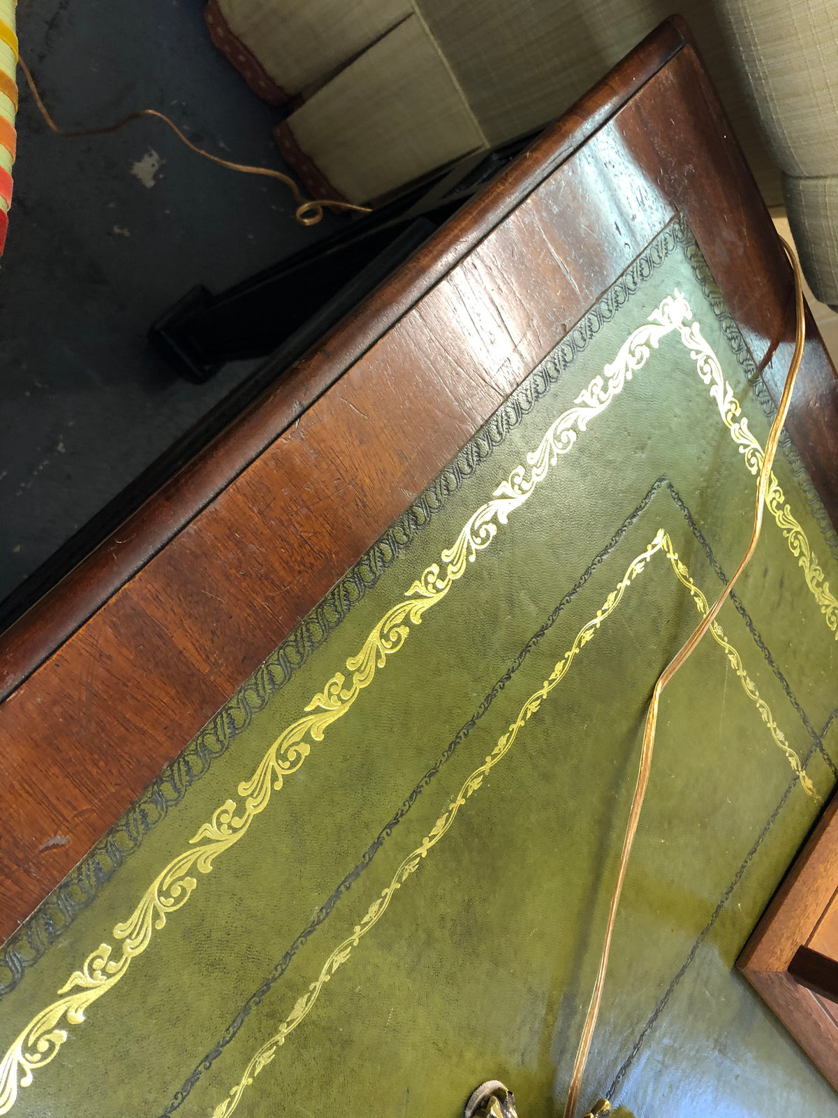 Green Leather Top Desk