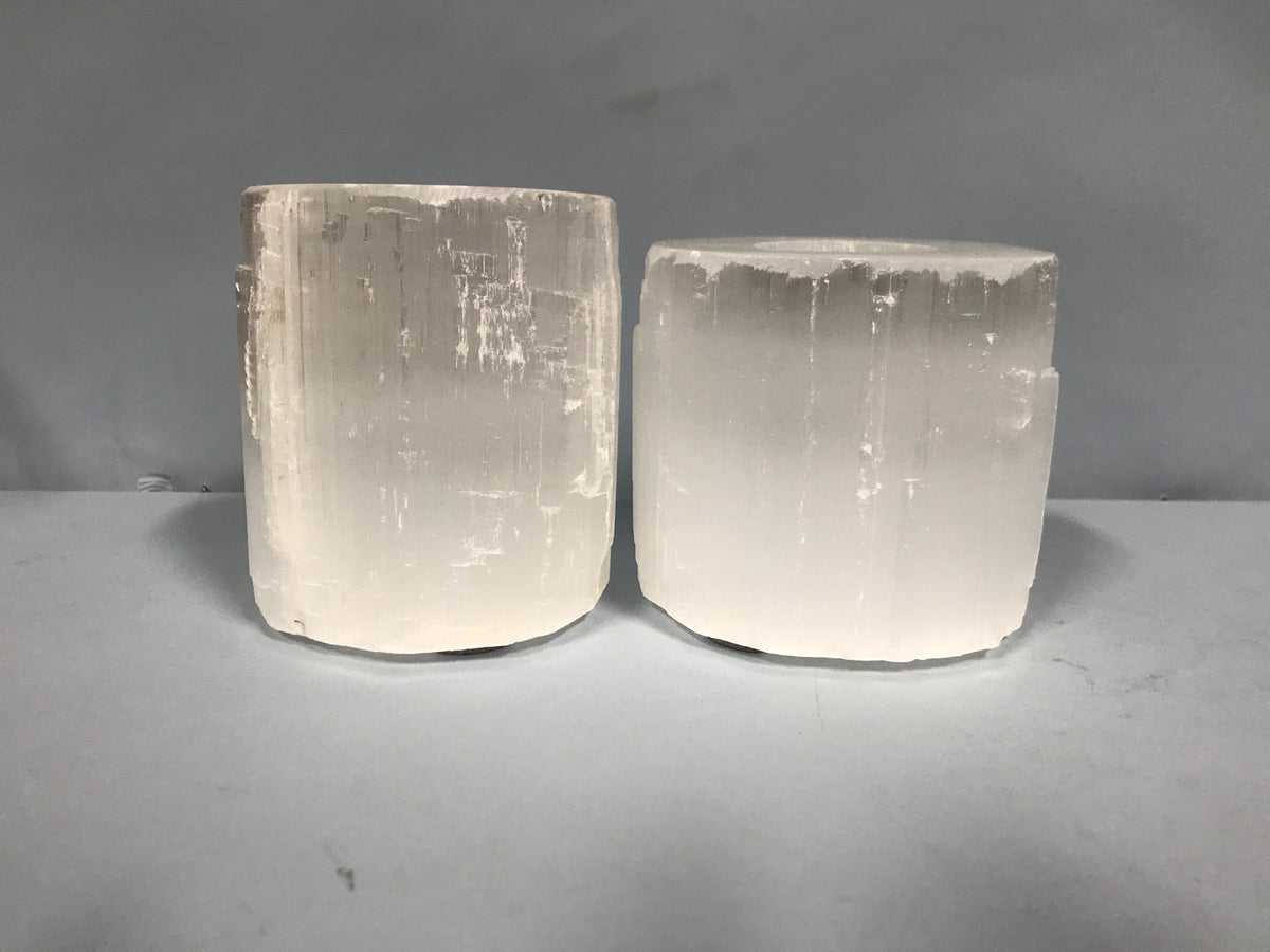 Pair Frosted White Candleholders
