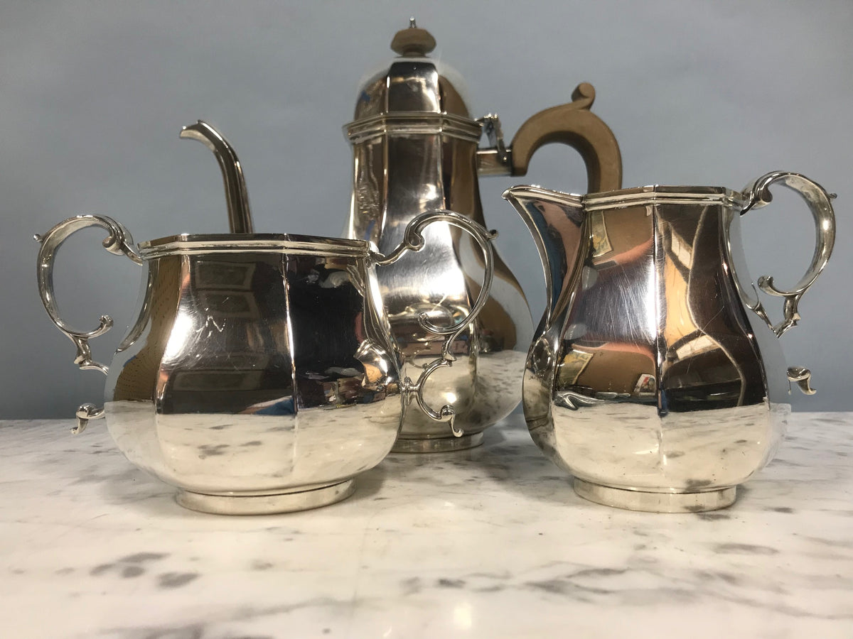 English Sterling Coffee, Sugar & Creamer Set
