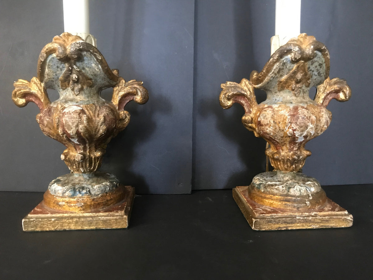 Pair Early Candlestick Lamps