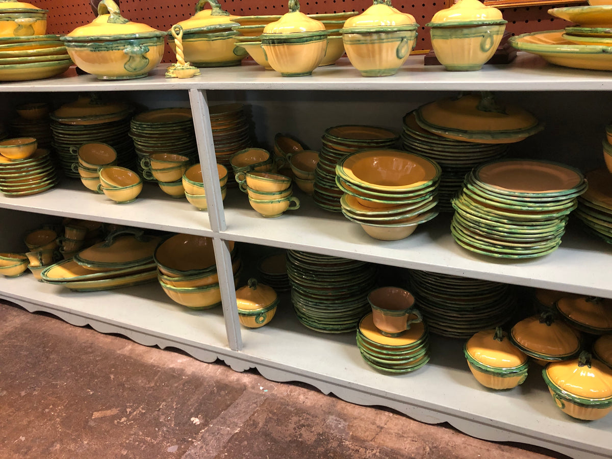 Set of Green and Yellow Italian Dishes