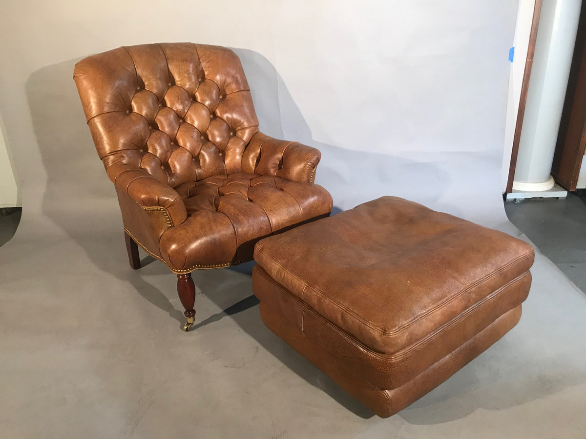 Leather Tufted Chair W/Ottoman