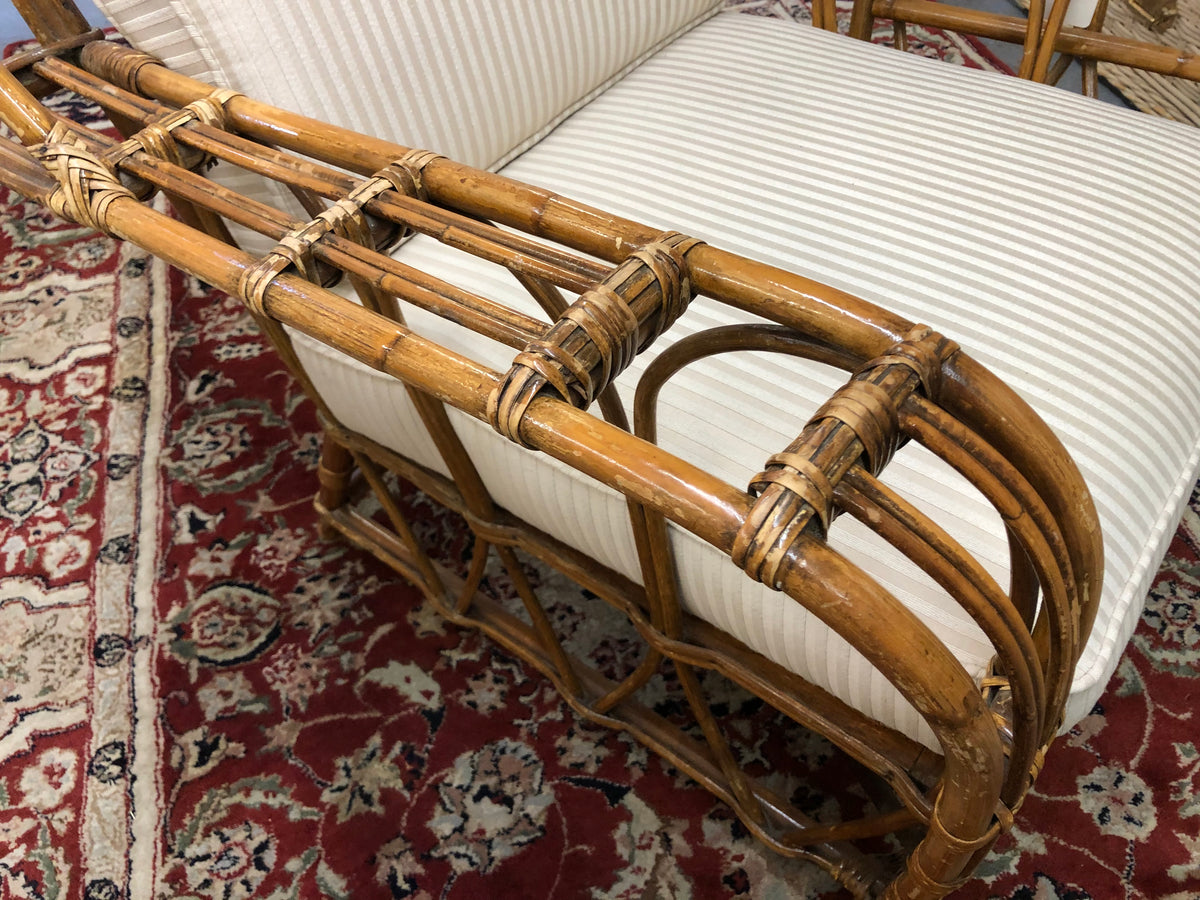 Vintage Pencil Reed Rattan Lounge Chair