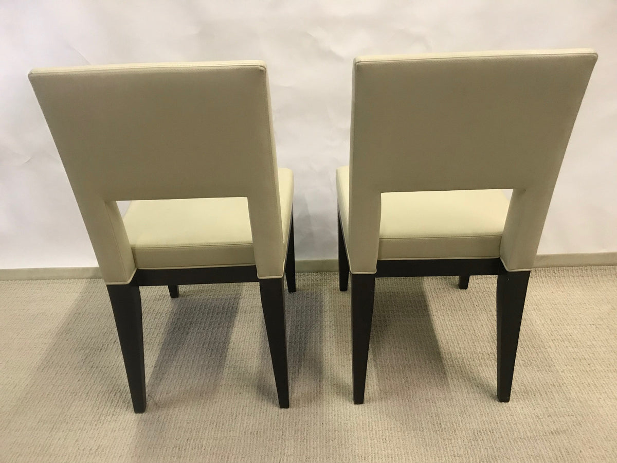 Set of Eight Modern Form Leather Chairs