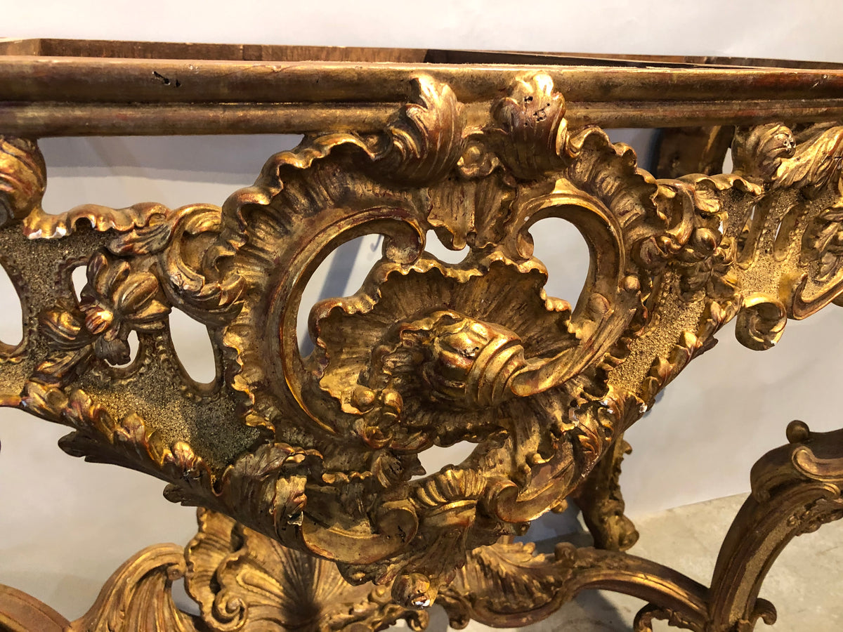 Gilt Wood Heavily Carved Italian Style Console Base