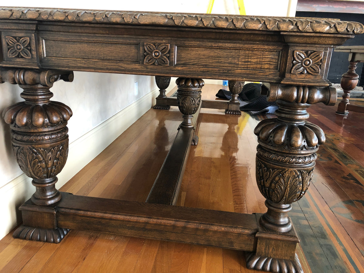 Old English Jacobean Style Oak Center / Dining Table