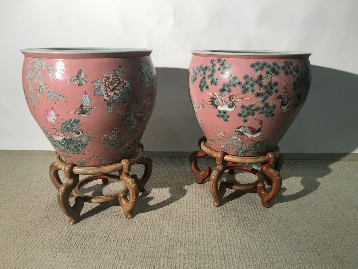 Pair Asian Fish Bowls On Stands
