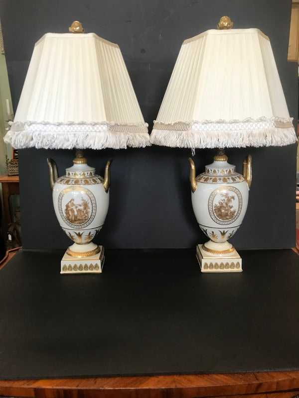 Pr. Cream & Gold Porcelain Lamps