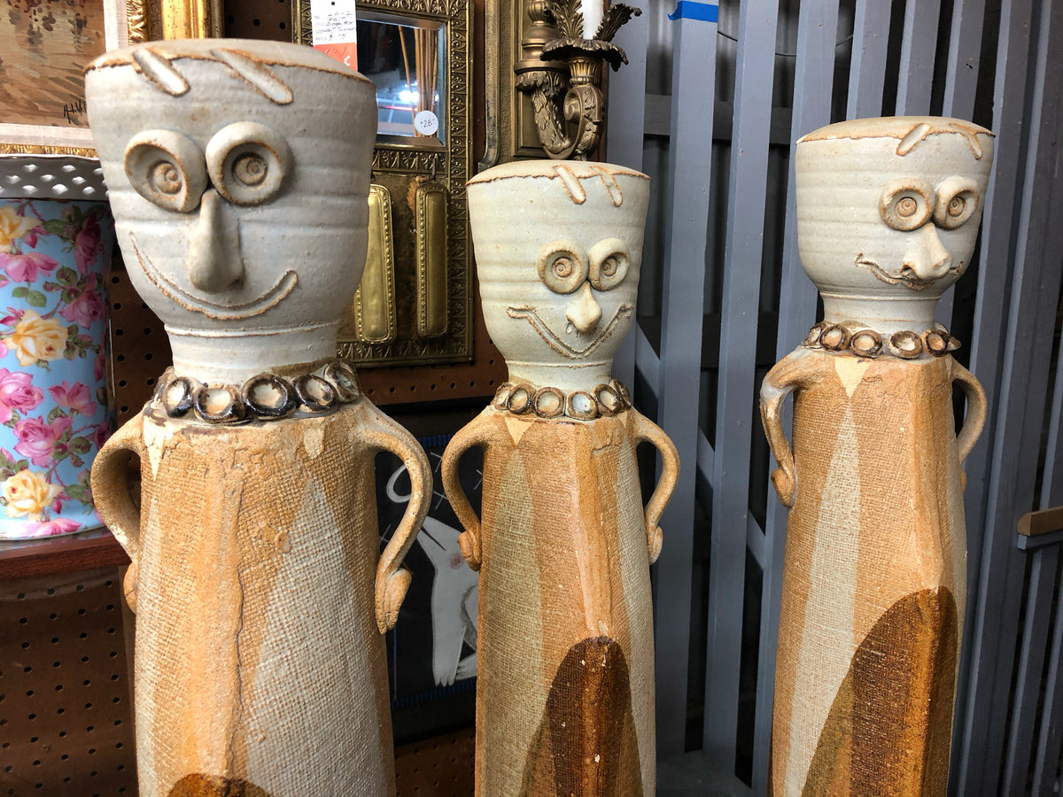 Set of 3 Clay Face Sculpture Vases