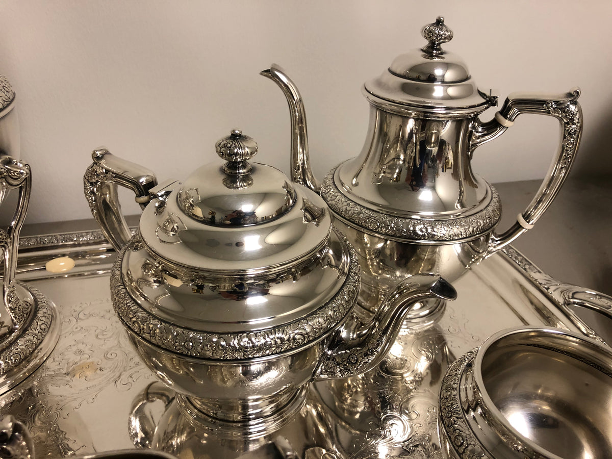 6 pc Sterling Bridal Bouquet Tea Set by Alvin W/ Silver Plate Tray