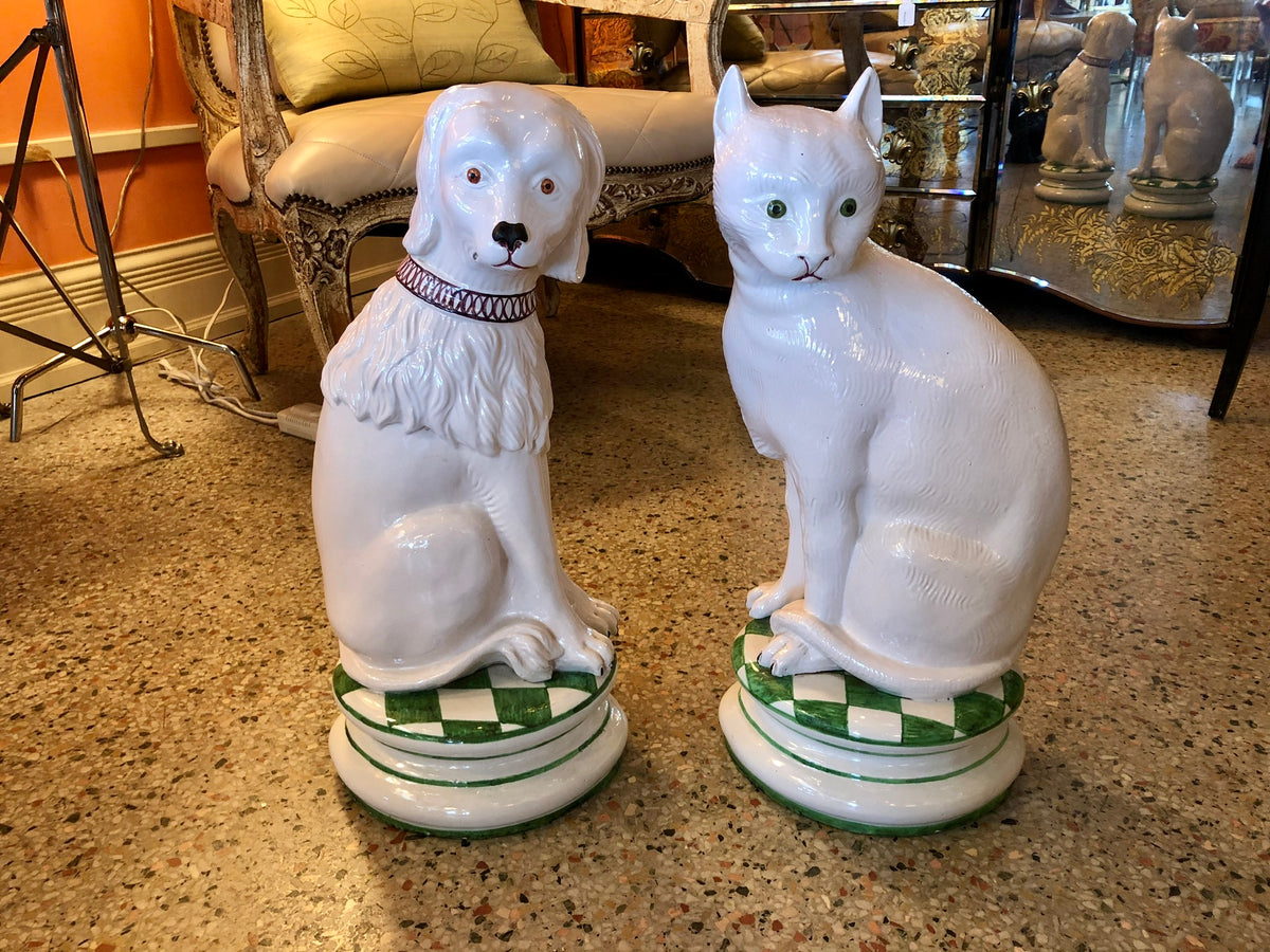 Vintage Ceramic Dog and Cat