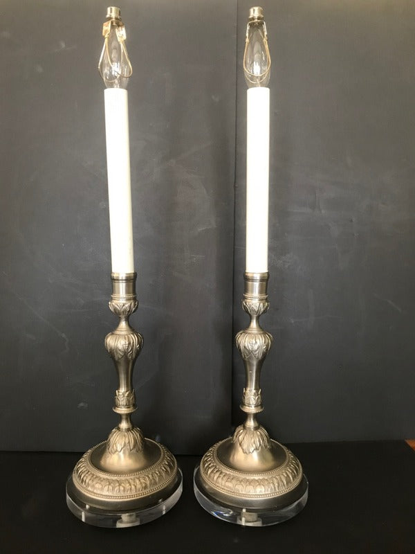 Pair Silvered Candlestick Lamps on Lucite Bases
