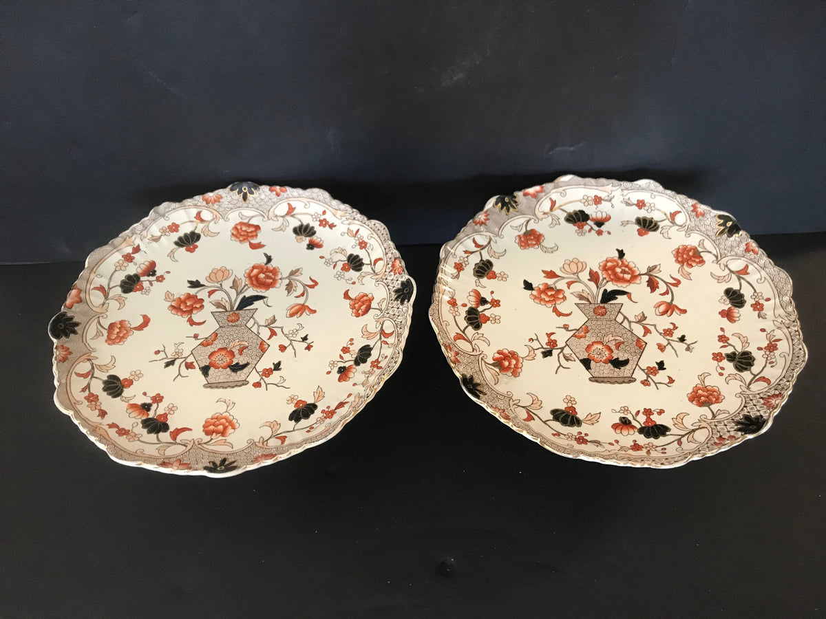 Pair Dessert Serving Footed Plates