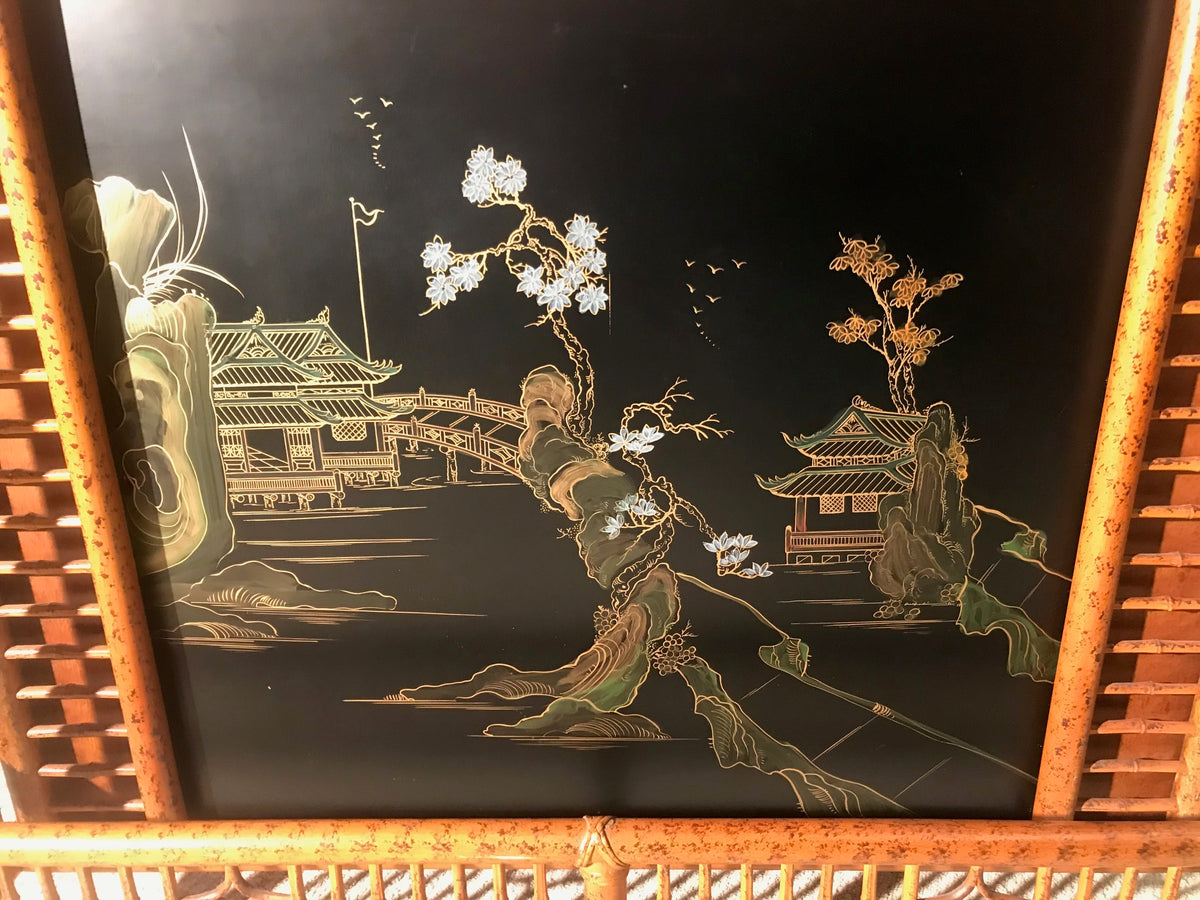 Bamboo Bar Decorated Asian Panel