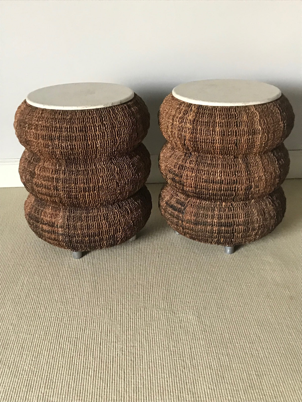 Pair Stone Top Wicker Side Tables