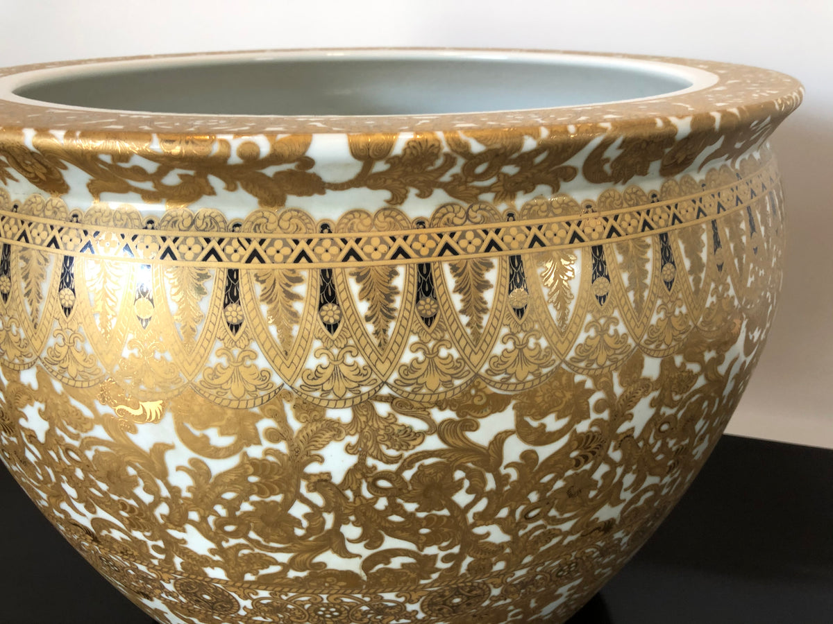 Gold and White Porcelain Fish Bowl