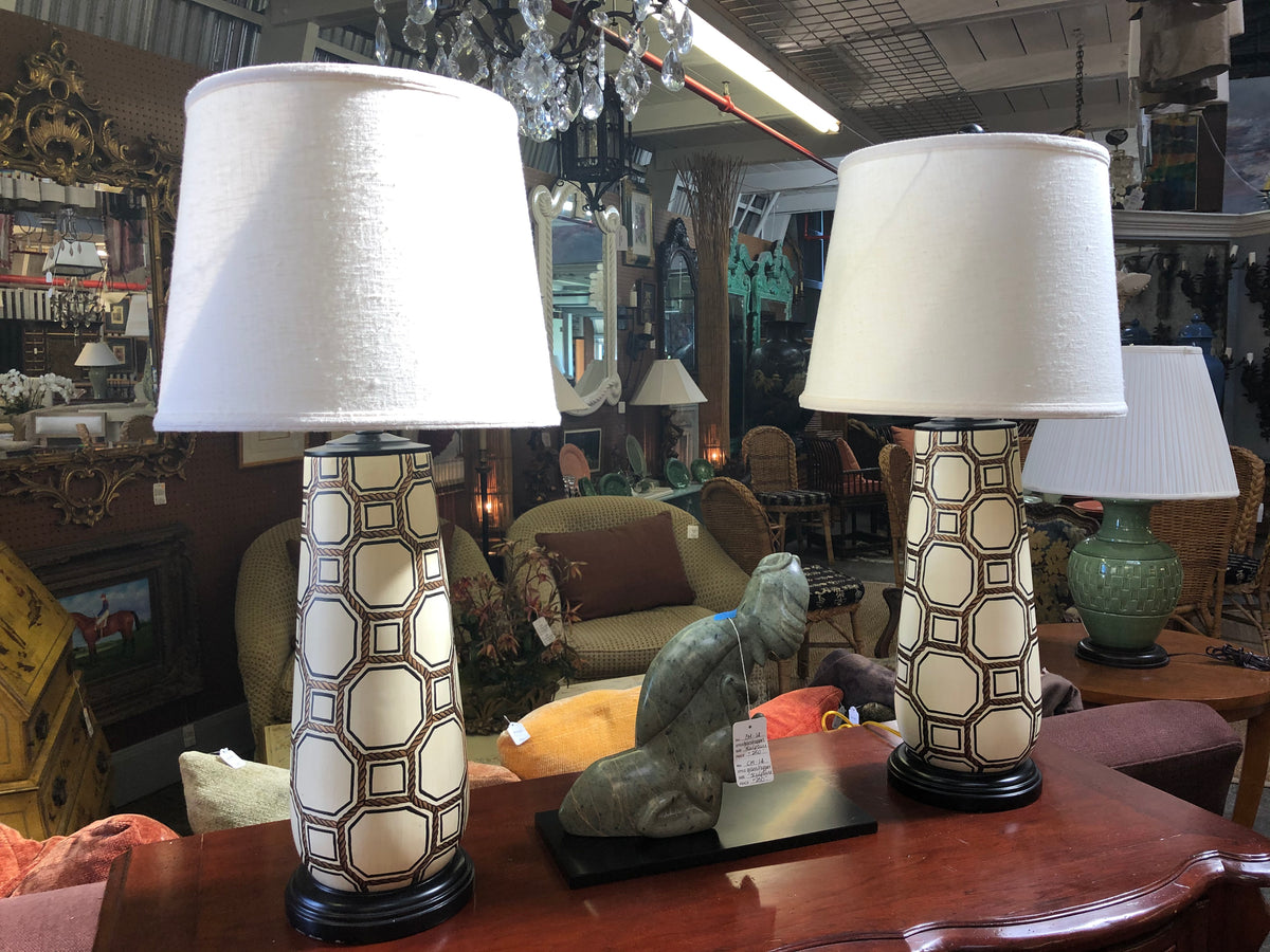 Pair of Ceramic Lamps with Nautical Rope Details