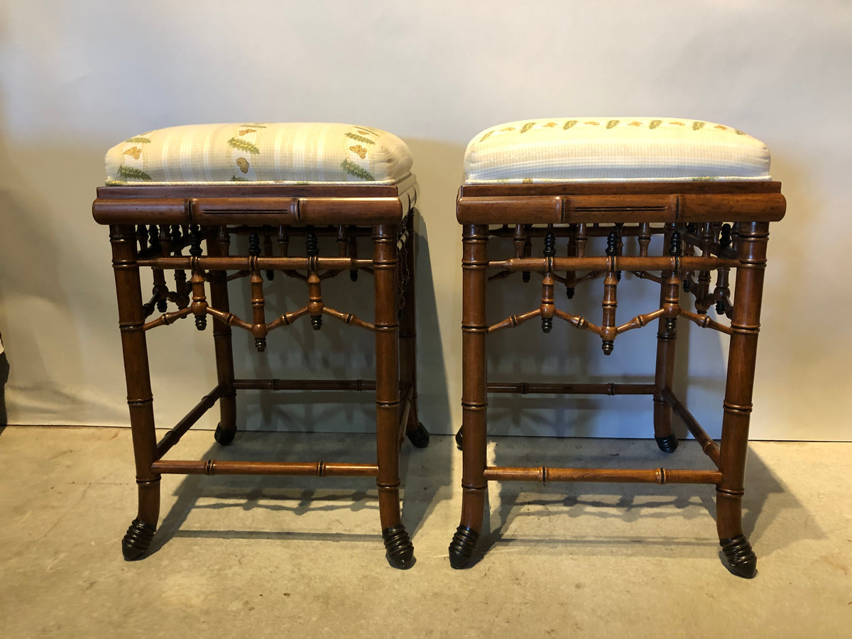 Pair of Faux Bamboo Counter Stools