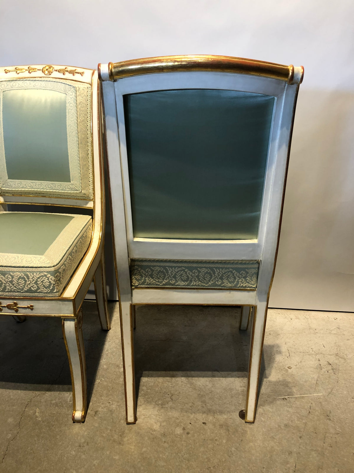 Pair Baltic Parcel Gilt and Paint Side Chairs