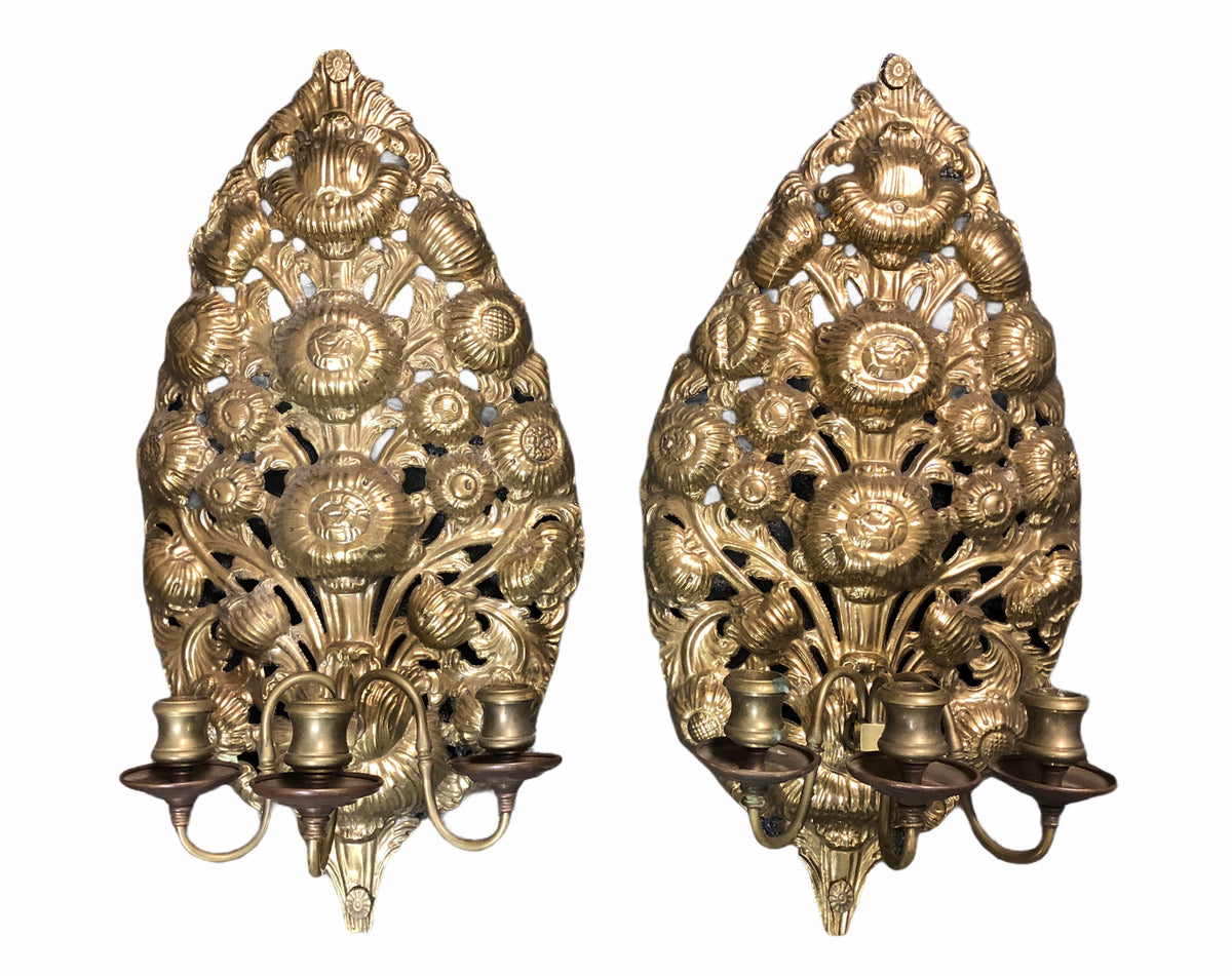 Pressed Brass Candle Sconces