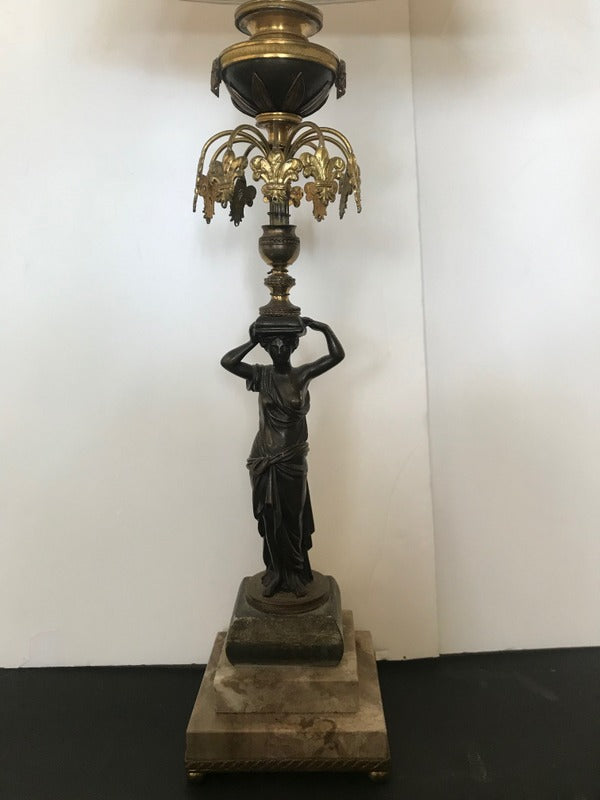Bronze Figural Lamp on Marble Pedestal