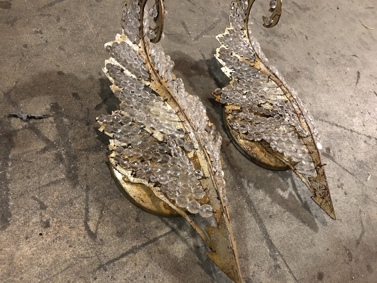 Pair Biarritz Crystal Sconces by Niermann Weeks