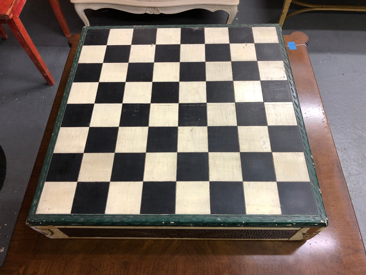 Wood Carved Painted Chess Set / Table