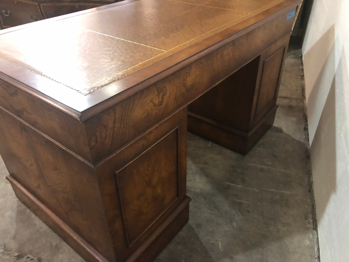 Vintage Pedestal Desk with Leather Top