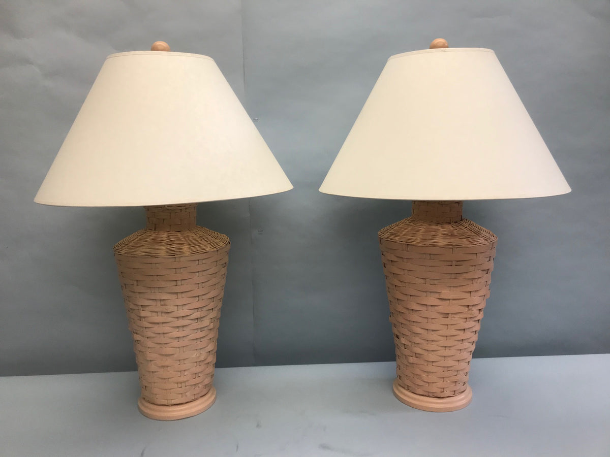 Pair Pink Wicker Lamps W/Shades