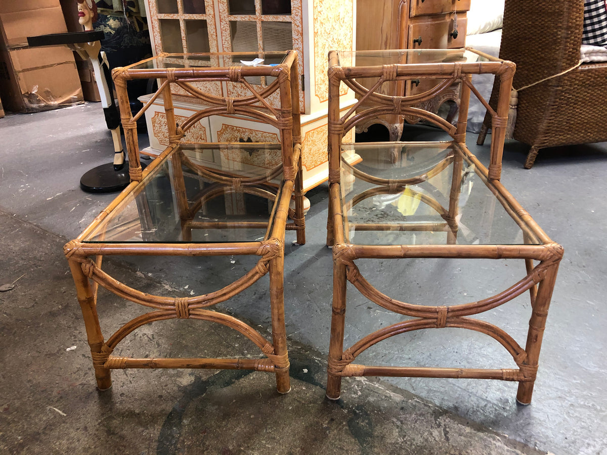 Vintage Rattan Step Tables