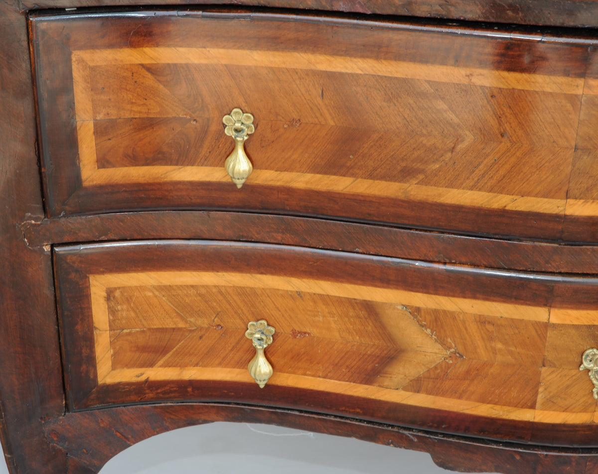French Banded Mahogany Bombe Chest