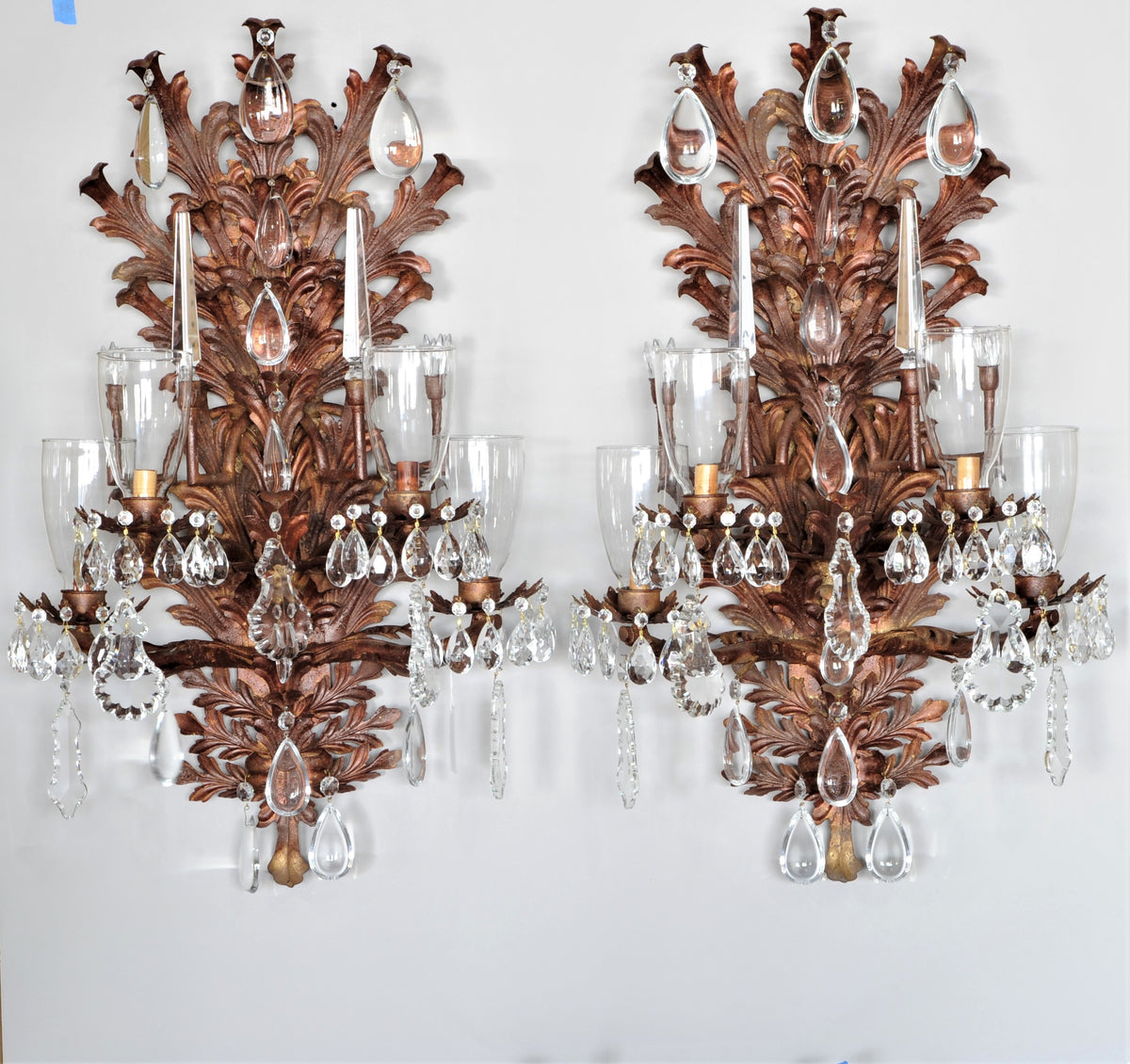Large Pair of Crystal Mounted Bronzed Sconces