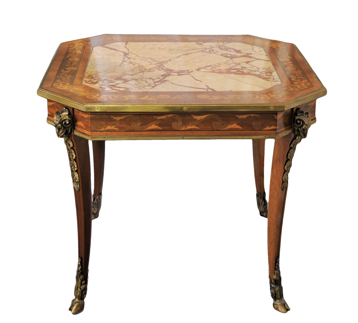 Napoleon III Style Marquetry and Ormolu Mounted Breccia Marble Table