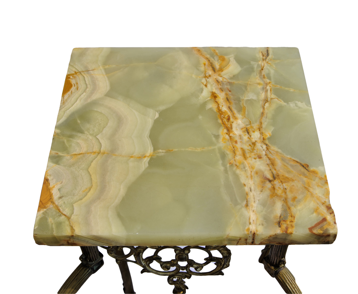 Fine Marble and Cast Bronze Pedestal Table