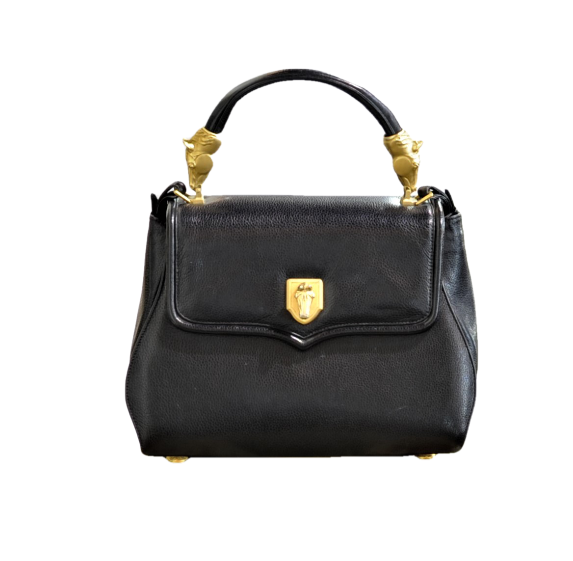 Rare Vincenza Black Leather and Gilt Bronze Equestrian Handbag