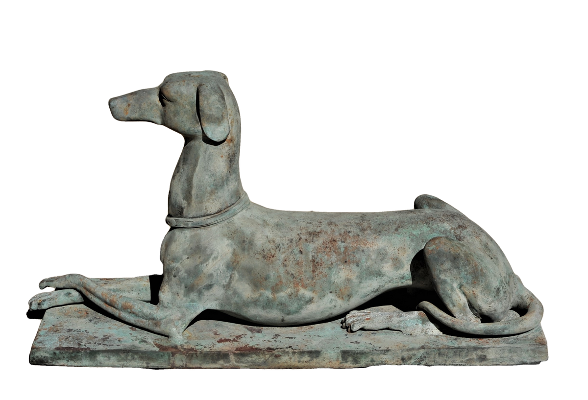 Elegant Cast and Patinated Garden Hound or Whippet Sentry